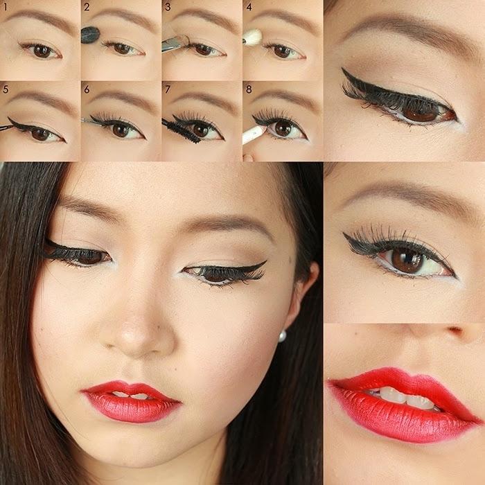 schlne lippen und langfristige rote farbe selber gestalten make up ideen für damen schöner lidstrich in schwarz
