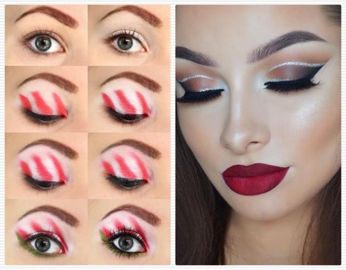 dunkelrote lippenstift farbe matt mit kreativem design der augen lidschatten zuckerstange design oder smokey
