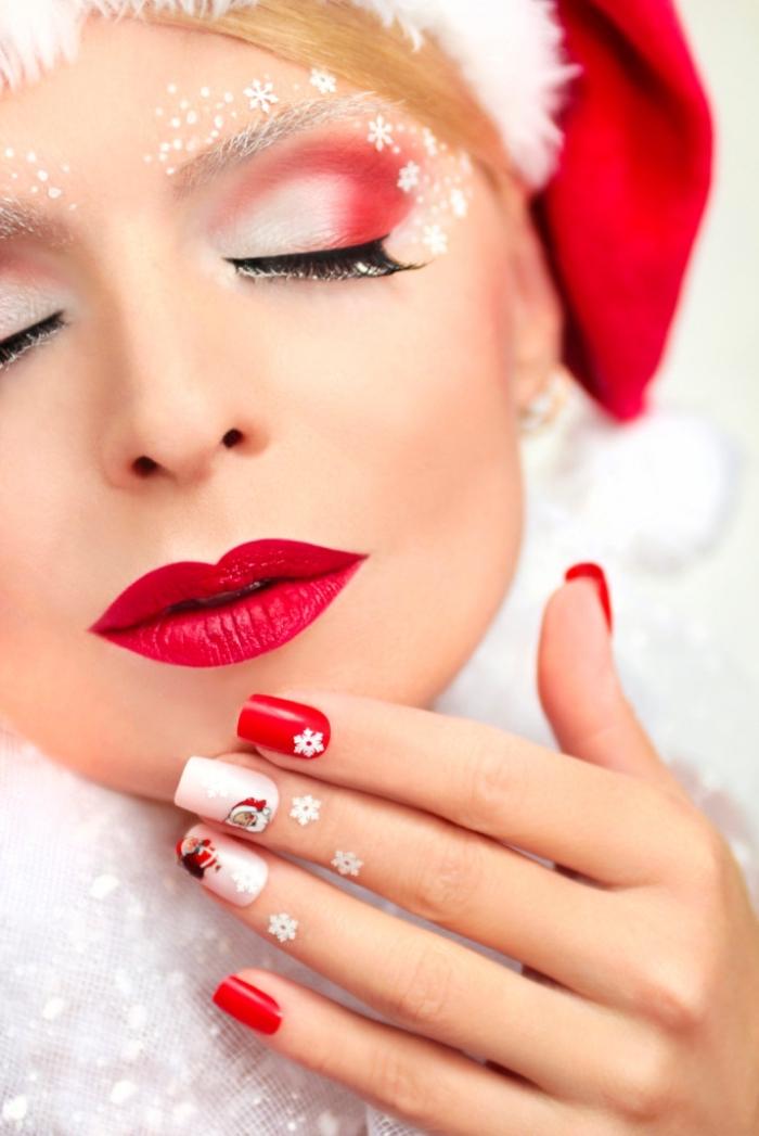 schlne lippen selber schminken in rot, rot und weiß nageldesign festlicher hut, weihnachten