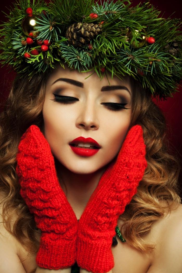 lippenstift farbe rot ideen zum festlichen look von frauen, rote handschuhe, kranz auf dem kopf, smokey augen schminke