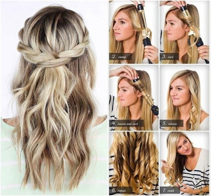 frusiren mit lockenstab, lockenstab, ideen blonde strähne in den haaren, frisur selber machen, zopf