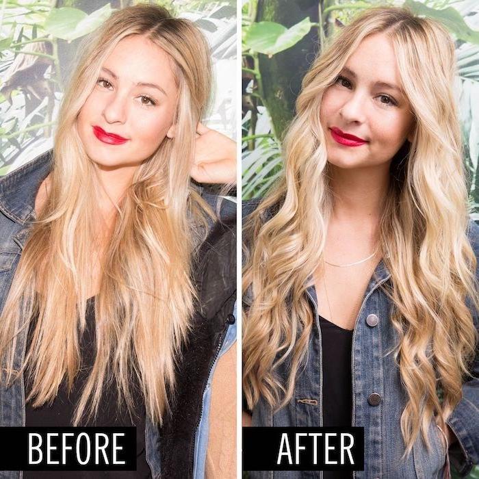 lange blonde haare, zuerst glatt, dann lockign, locken machen, schönes mädchen mit rotem lippenstift