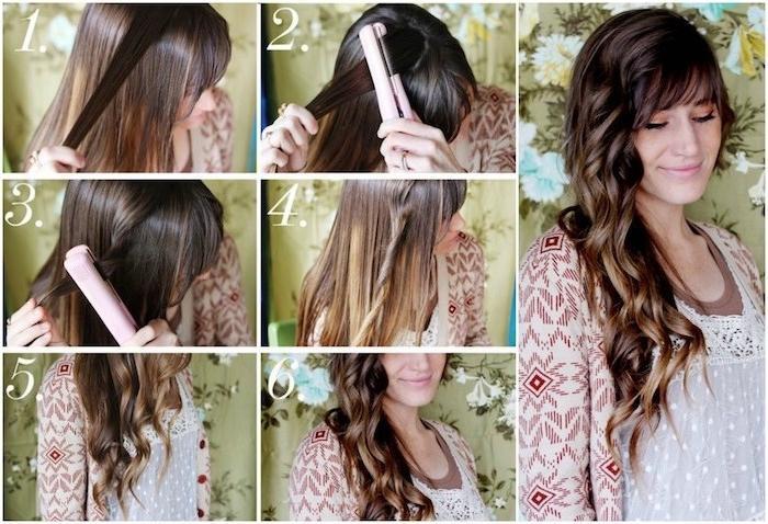 anleitung in bildern, lockenstab große locken, braune haare mit dezenten goldbraunen strähnen, locken mit glätteisen