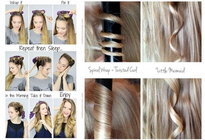 ideen für frisuren, lockige haare, lockenstab große locken, anleitung, tutorial, bilder, lockenstab