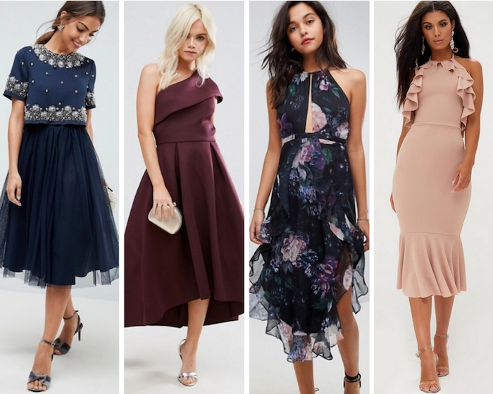 dunkle farben blau und rot oder nude lange kleider für hochzeitsgäste kollage ideen sammeln