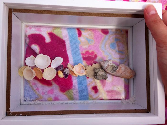 muschel bilder, 3d-bild mit muscheln, sommerdeko selber machen, wanddeko diy