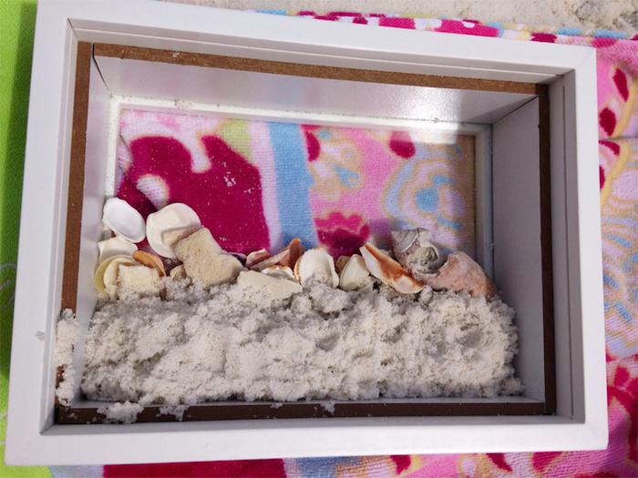 muschel bilder, 3d-bild mit sand und muscheln, maritime deko selber machen, wanddeko