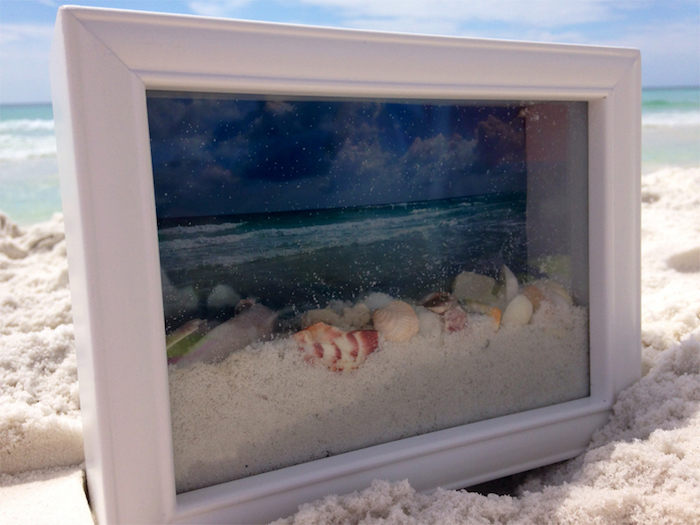 muschel bilder, maritime deko selber machen, 3d-bild mit sand und muscheln