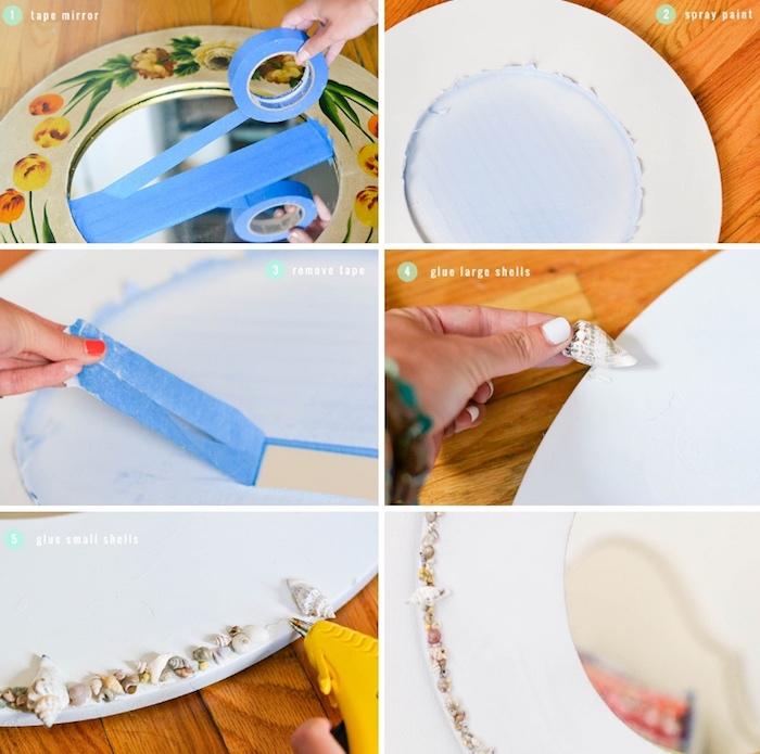 muschelbilder, alte möbel aufpeppen, spiegelrahmen mit muscheln dekorieren, wanddeko selber machen