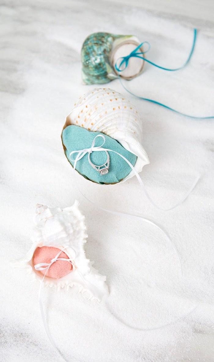 muschelbilder, selbstgemachte ringhalter aus muscheln, diy geschenke, ringständer