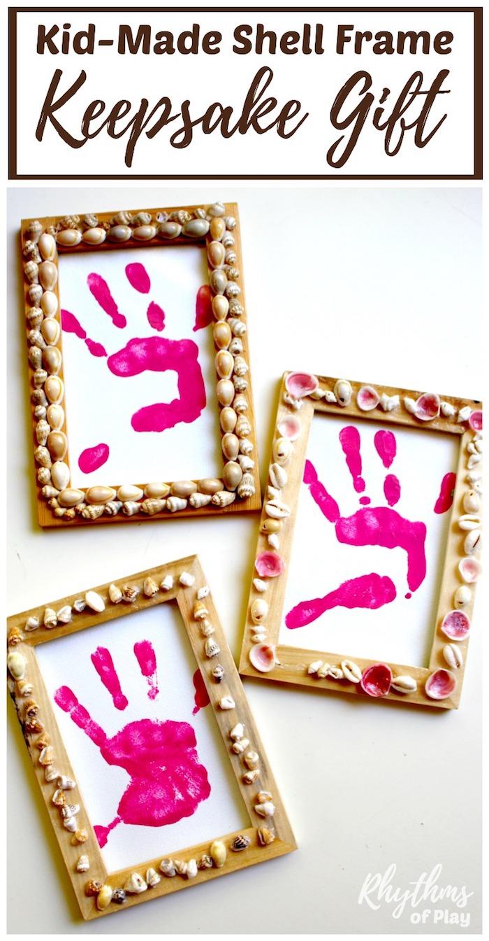 muscheln basteln mit kindern, selbstgemachte bilder, bilderrahmen dekoriert mit muscheln
