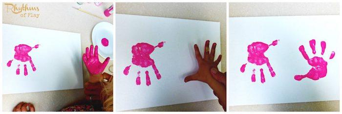 muscheln basteln, basteln mit kindern, hände muster, rosa farbe, diy bild, wanddeko