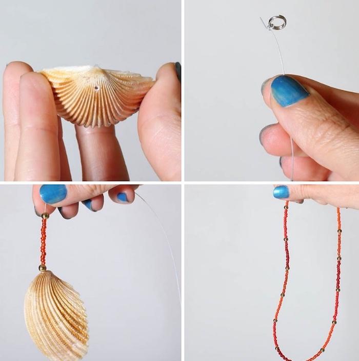 muscheln nordsee, große muschel bohren, perlen einfädeln, halskette selber machen