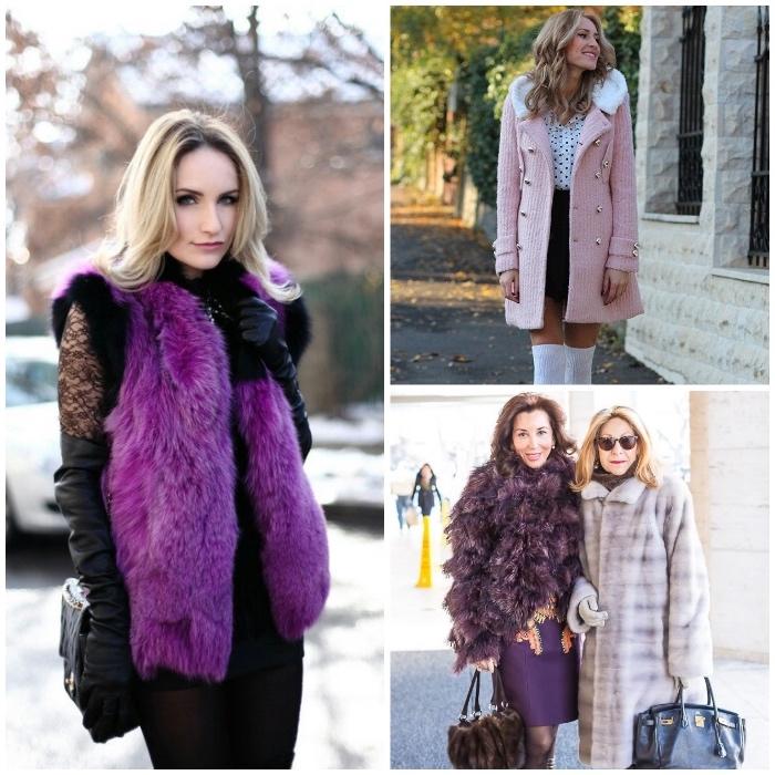 neueste modetrends, lila fellweste hellrosa mantel, lila fellmantel, winterkleider