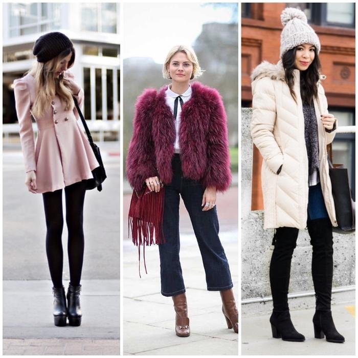 outfits frauen, winterkleider, beige winterjacke mit fell, rosa mantel mit goldenen knöpfen, lila fellmantel