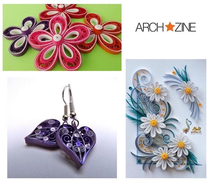 kleine violette quilling ohrringe mit violetten herzen, basteln mit papierstreifen, kleine weiße, pinke, rote und violetten quilling blumen