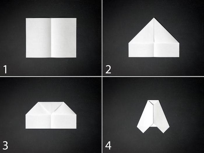 ein teil einer schritt für schritt diy papierflieger anleitung in vier schritten, basteln mit papier, einen kleinen weißen papierflieger selber machen