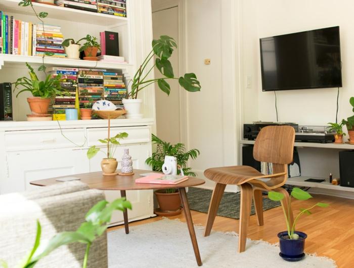 ein Zimmer voller grüne Pflanzen, Tischlein und Stuhl aus Holz, Wohnzimmer Fernsehwand