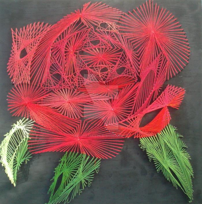 eine Rose in roter Farbe, eine Fadengrafik Anleitung, wie Sie Blätter selber schaffen