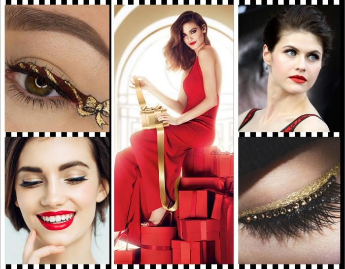 lippenstift matt kombiniert mit schwarzem lidstrich und goldene lidschatten schöne ideen zu weihnachten und silvester
