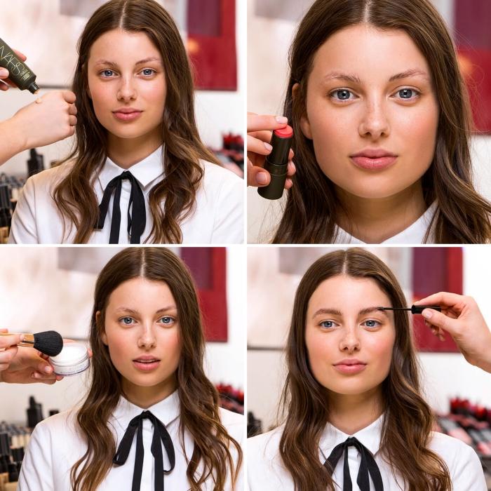 schinkanleitung, haare und make up selber machen, festlich, matter lippenstift, lockige haare
