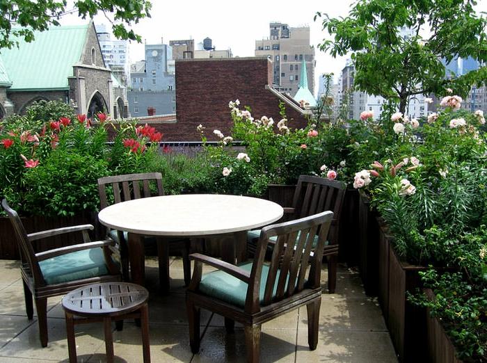 Frühlingsblumen mit prächtigen Blüten, praktische Terrassenmöbel, Terrasse bepflanzen