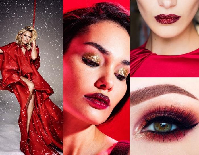 matter lippenstift in rot dunkelrote nuancen des makeups winter collage inspiration für die damen