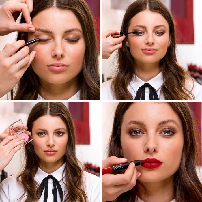 augen schön schminken in braun und grau, augenbrauen, haare frisieren, matter lippenstift in rot