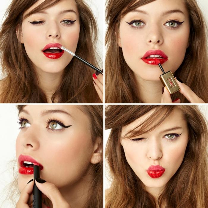 matter lippenstift mit glanz frisch und scheinend wirken lassen collage bilder mit schönem make up