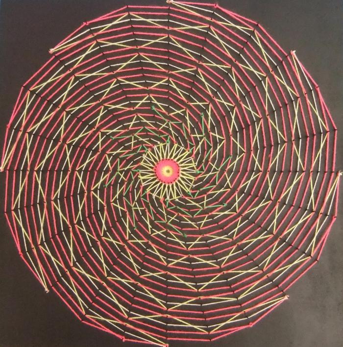 eine bunte Fadengrafik Anleitung aus drei Farben, wie eine Sonne, gerundete Abbildung