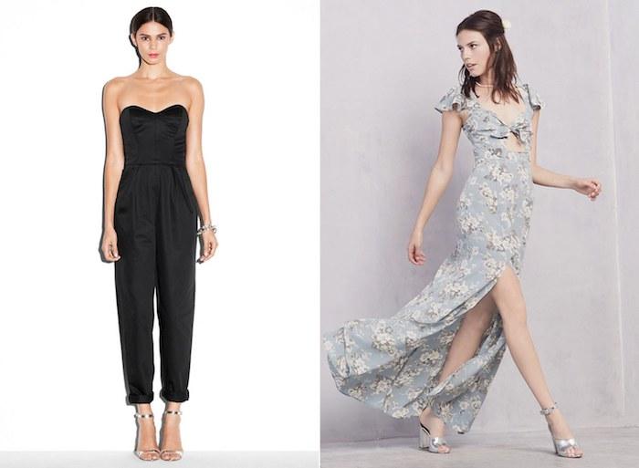 schwarzer jumpsuit hochzeit links und langes graues kleid bodenlang beide outfits mit den selben schuhen silbern