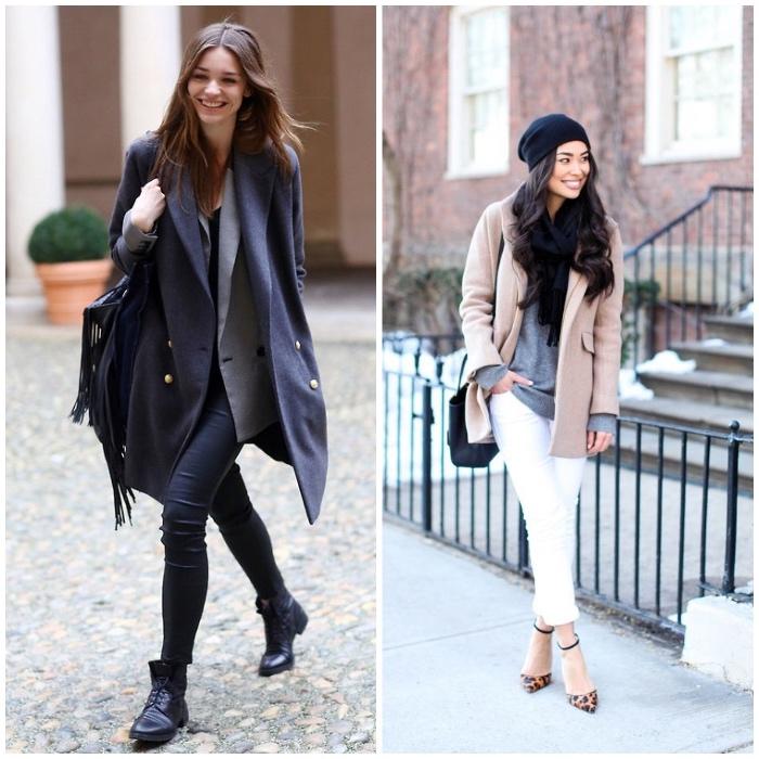 schuckes outfit für frauen, weiße hose mit beigem mantel und grauer bluse, winter outfit in schwarz und grau
