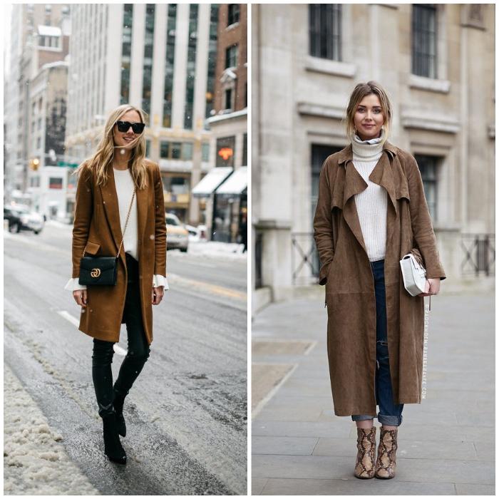 schickes outfit für frauen mit stil, brauner mantel in kombination mit weißer bluse und jeans