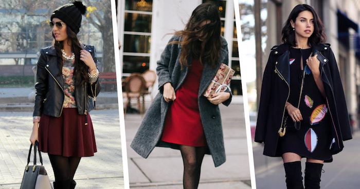 schuckes outfit für frauen, roter kleid mit grauem mantel, dunkelroter rock mit bunter bluse und schwarzer lederjacke