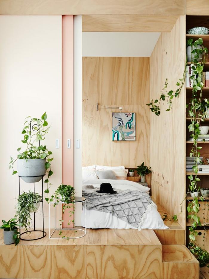 ein japanisches Schlafzimmer, Schlafzimmer Ideen für kleine Räume, buntes Bild