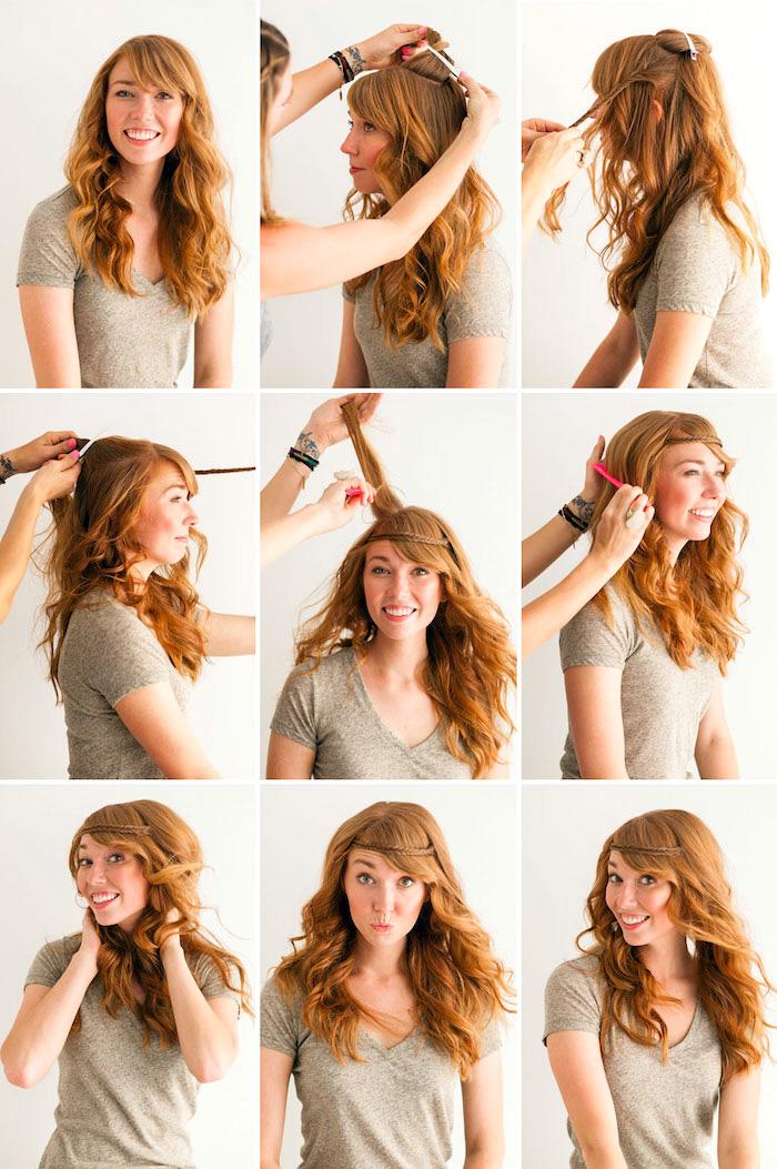 schnelle frisuren für den alltag, orangen-rote haare, alltagsfrisur mit kleinem zopf