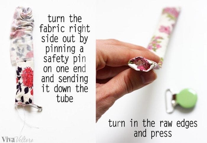 schnuller kette selber machen, schnullerkette aus weißem stoff mit blumen muster