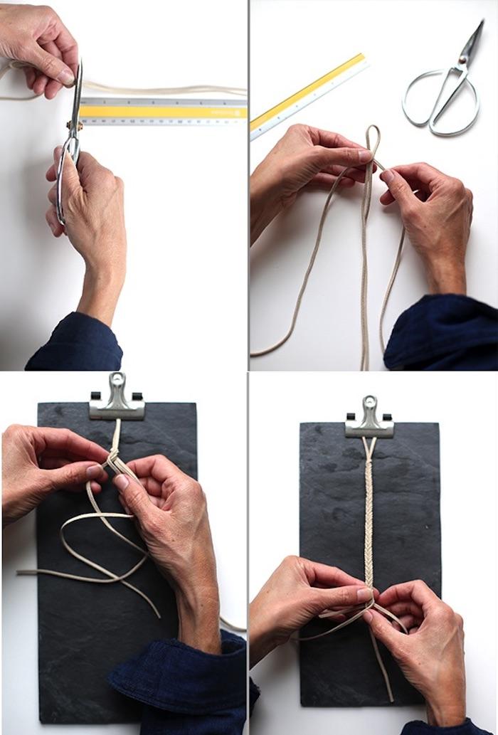 schnuller kette aus lederband selber machen, lederband messen und schneiden