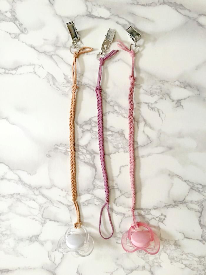 schnullerkette basten, schnullerketten aus lederband in verschiedenen farben