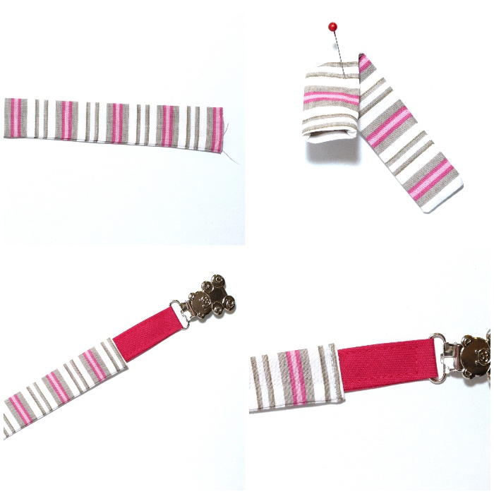 schnullerkette selber machen, raierten stoff in weiß, grau und rosa, schnullerkette nähen