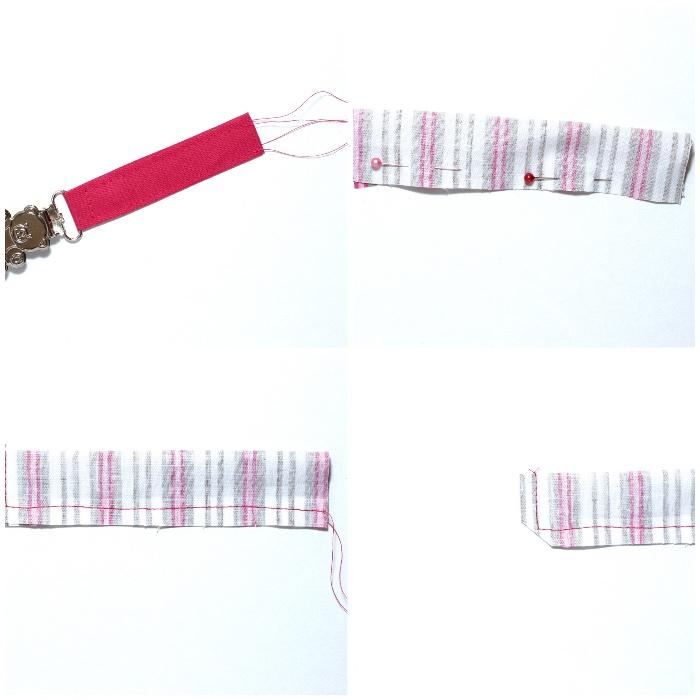schnullerkette selber machen, schnullerkette aus stoff und gummiband, stoff nähen