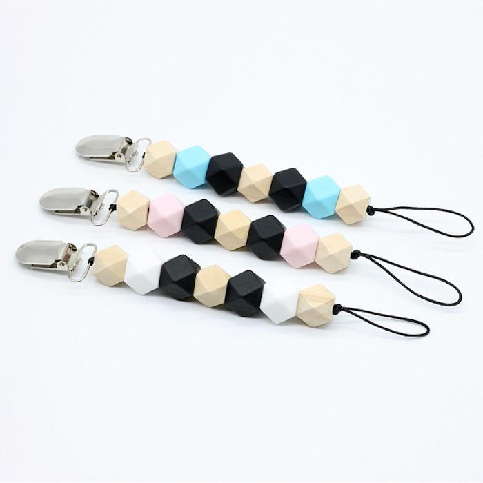 schnullerketten bastelset, schnullerketten aus gummiband und silikonperlen