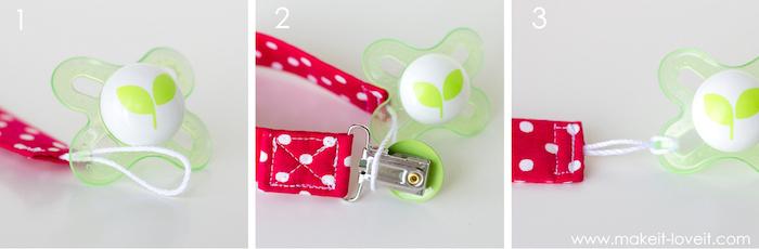 schnullerketten selber machen, grüner schnuller, roter gepunkteter stoff, diy