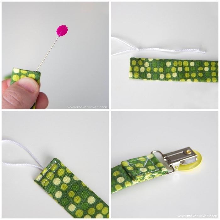 schnullerketten selber machen, grüner gepunkteter stoff, schnullerkette nähen