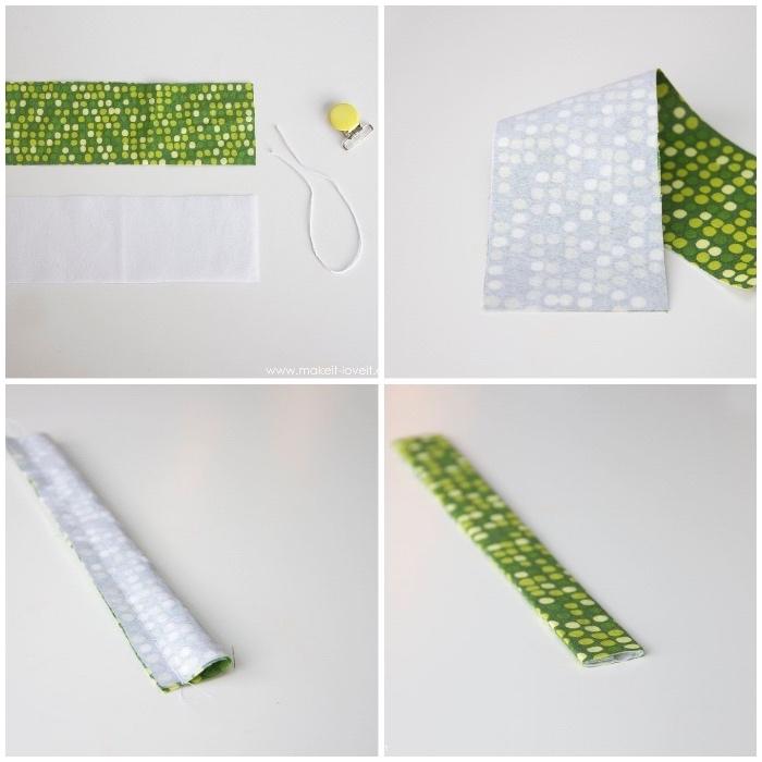 schnullerketten selber machen, langes stück stoff, stoff falten und nähen