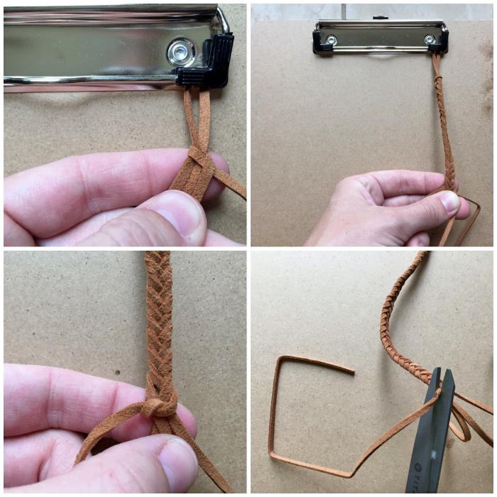 schnullerketten selber machen, zopf aus braunem lederband flechten, diy projekt