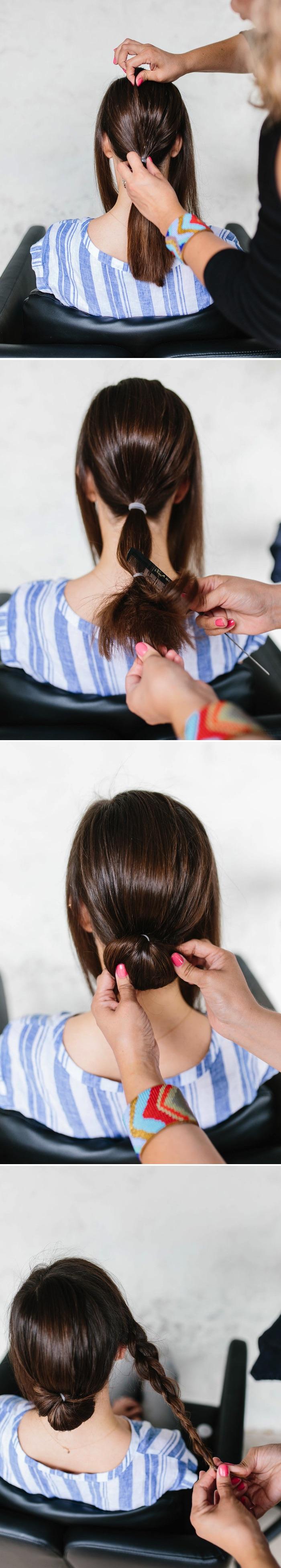 schöne frisuren zum nachstylen, frisuren für mittellange haare, dutt-frisur