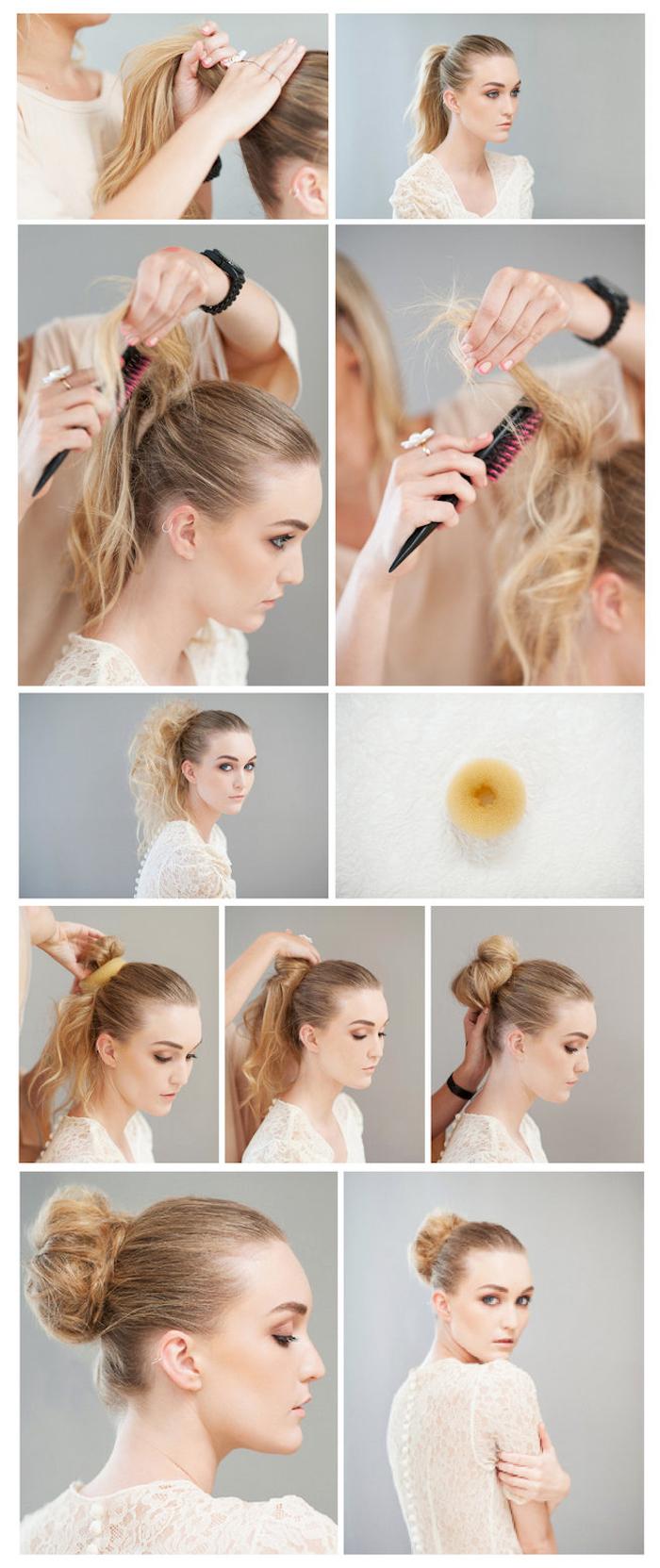 schöne frisuren, haare hochstecken, frisuren für mittellange haare, dutt-frisur mit duttkissen