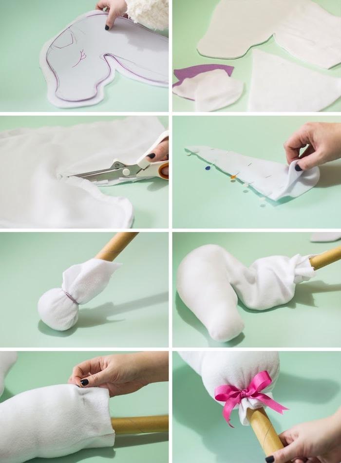 eine diy schritt für schritt bastelanleitung für ein weißes steckenpferd einhorn, eine hand mit einem dunklen violetten nagellack, weißes einhorn mit einem braunen holzstecken