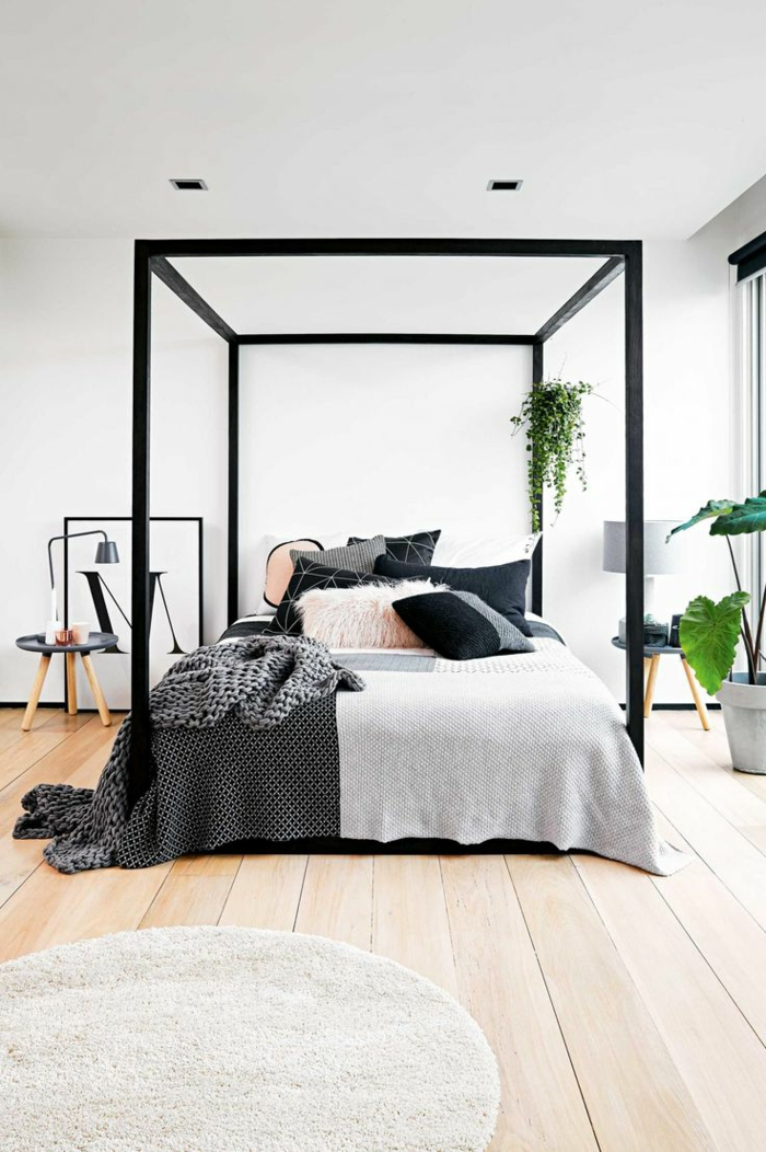 ein modernes Design von Himmelbett, runder Teppich, Schlafzimmer Ideen